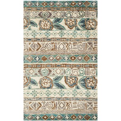 Pinehurst Hand-Knotted Bleach/Gold Area Rug Rug Size: Rectangle 5 x 8