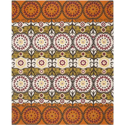 Allison Contemporary Orange/Gray Area Rug Rug Size: Rectangle 73 x 93