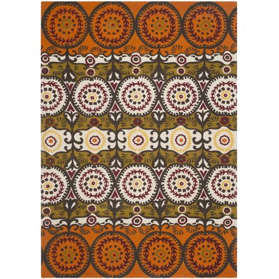 Allison Orange & Red Contemporary Area Rug Rug Size: 4' x 6'