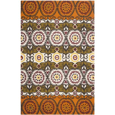 Allison Contemporary Orange/Gray Area Rug Rug Size: Rectangle 5 x 8