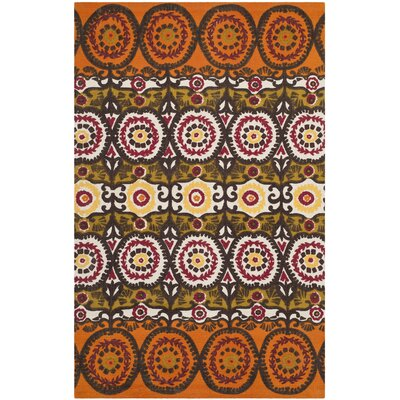 Allison Orange & Red Contemporary Area Rug Rug Size: 2'3