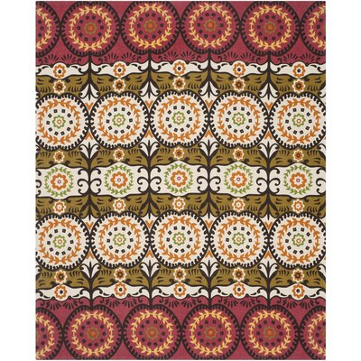 Allison Red / Orange Contemporary Rug Rug Size: 73 x 93