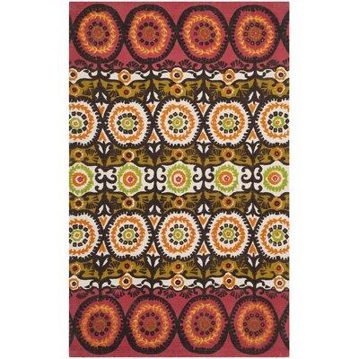 Allison Red / Orange Contemporary Rug Rug Size: 23 x 39