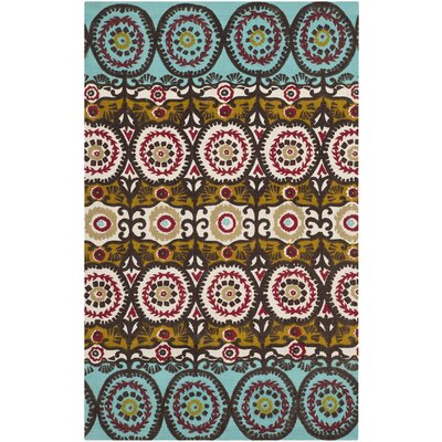 Allison Turquoise & Burgundy Contemporary Rug Rug Size: 23 x 39