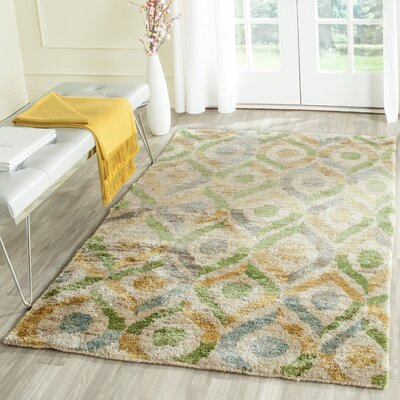 Pinehurst Contemporary Hand-Knotted Beige/Blue Area Rug Rug Size: Rectangle 4 x 6