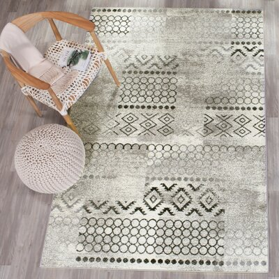 Ameesha Cream/Dark Gray Area Rug Rug Size: 4' x 6'