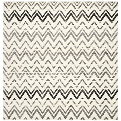 Ameesha Cream & Dark Gray Area Rug Rug Size: Square 6