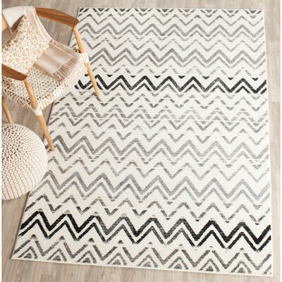 Ameesha Cream/Dark Gray Area Rug Rug Size: Rectangle 4 x 6