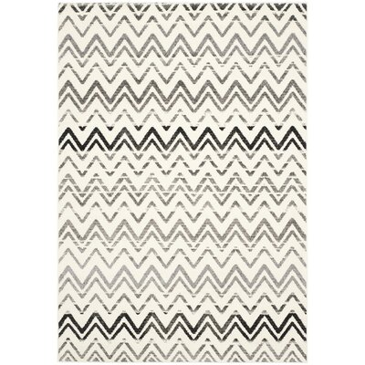 Ameesha Cream & Dark Gray Area Rug Rug Size: 51 x 76