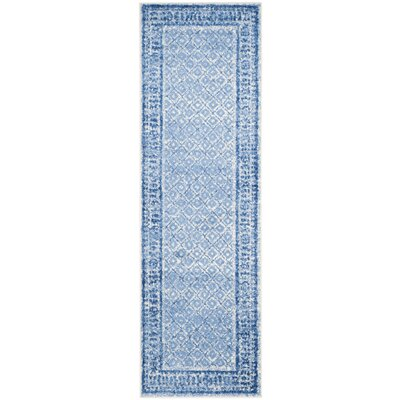 Alisa Silver & Blue Area Rug Rug Size: Runner 26 x 8