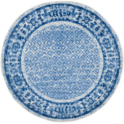 Alisa Silver & Blue Area Rug Rug Size: Round 6