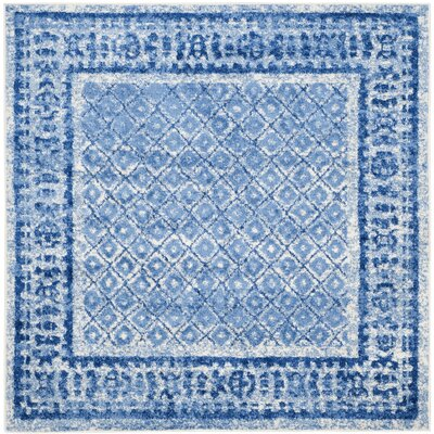 Alisa Silver & Blue Area Rug Rug Size: Square 6