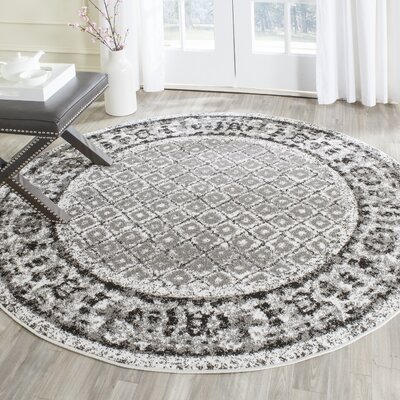 Norwell Ivory / Silver Area Rug Rug Size: Round 6