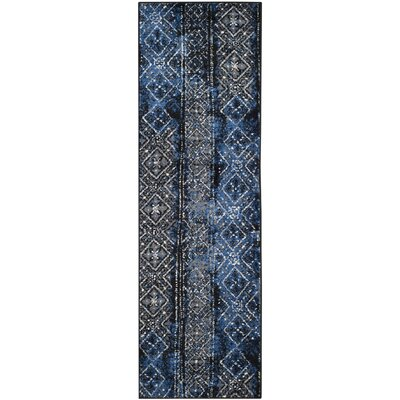 Norwell Silver & Black Area Rug Rug Size: Runner 2'6