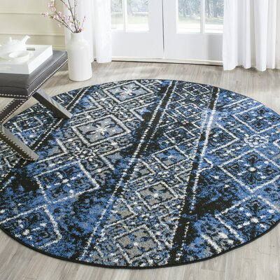 Norwell Silver & Black Area Rug Rug Size: Rectangle 9 x 12