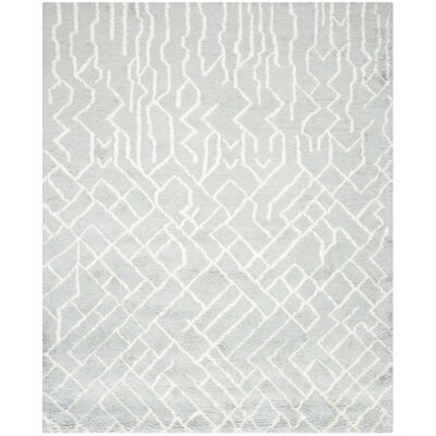 Farrar Shag Blue /Ivory Area Rug Rug Size: Rectangle 4 x 6