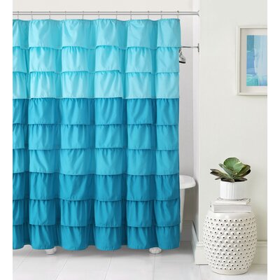 Petit Couli Ruffle Shower Curtain Color: Aqua