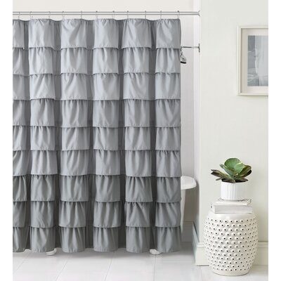 Petit Couli Ruffle Shower Curtain Color: Gray
