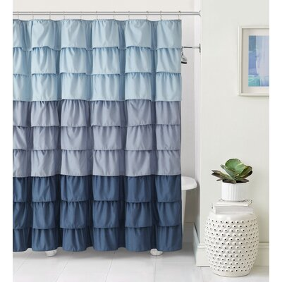 Petit Couli Ruffle Shower Curtain Color: Blue