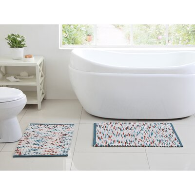 Kehlen 2 Piece Bath Rug Set Color: Aqua/Rust