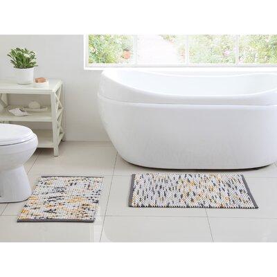 Kehlen 2 Piece Bath Rug Set Color: Gray/Yellow