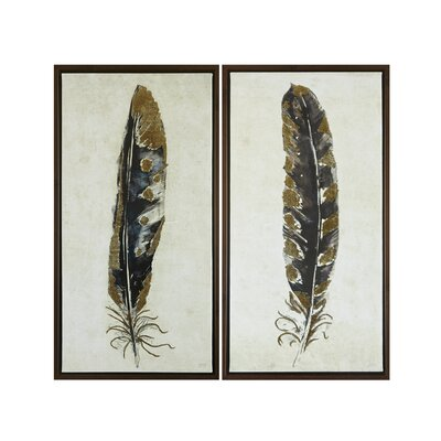 2 Piece Framed Painting Print on Wrapped Canvas Set