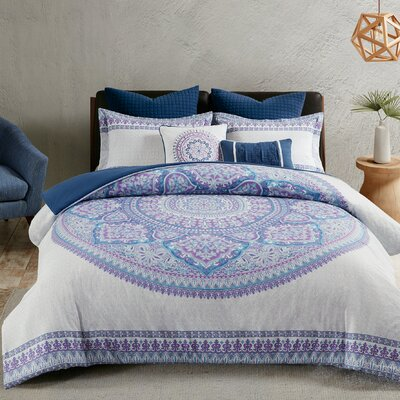 Coletta Cotton 7 Piece Duvet Set Size: King/California King, Color: Purple