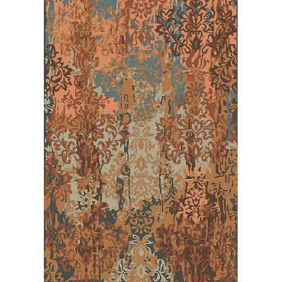 Urrutia Rust/Mocha Damask Rug Rug Size: 8 x 11