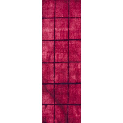 Steinsel Hand-Loomed Bright Pink/Burgundy Area Rug Rug size: Runner 26 x 8
