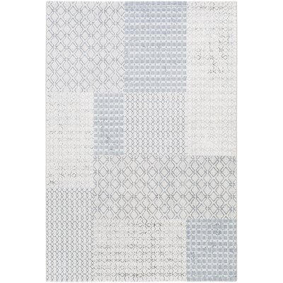 Shenk White/Gray Area Rug Rug Size: Rectangle 53 x 76