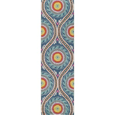 Yash Hand-Woven Orange/Blue Area Rug Rug Size: 36 x 56