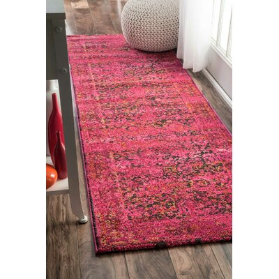 Ramgan Cherry Pink Area Rug Rug Size: Runner 26 x 8