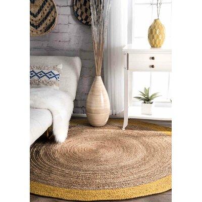 Sinha Gold/Beige Area Rug Rug Size: Round 6