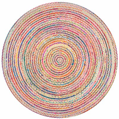 Sumitra Hand-Braided Blue/Yellow/Red Area Rug Rug Size: Round 8