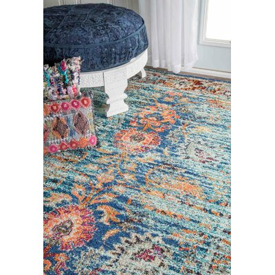 Sykora Blue Area Rug Rug Size: Rectangle 53 x 77