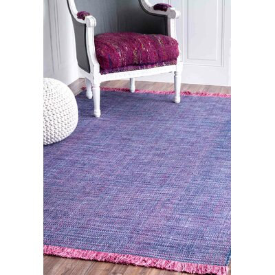 Tanouye Flat Woven Cotton Purple Area Rug Rug Size: Rectangle 76 x 96