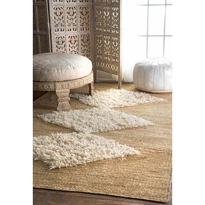 Cunningham Hand-Woven Beige Area Rug Rug Size: Rectangle 76 x 96