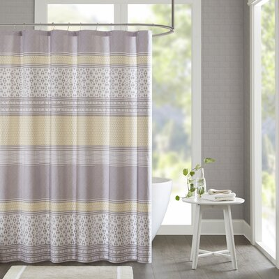 Karaman Cotton Printed Shower Curtain Color: Yellow