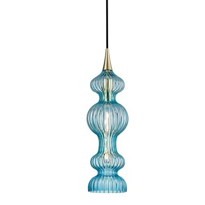 Riyad 1-Light Mini Pendant Finish: Polished Nickel, Shade color: Pink
