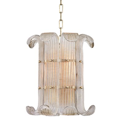 Vijay 4-Light Drum Pendant Finish: Aged Brass