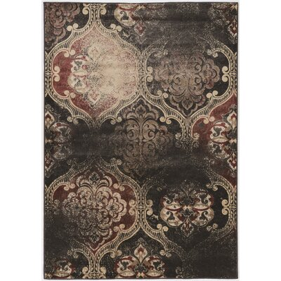 Pasho Beige/Black/Brown Area Rug Rug Size: Rectangle 5 x 76