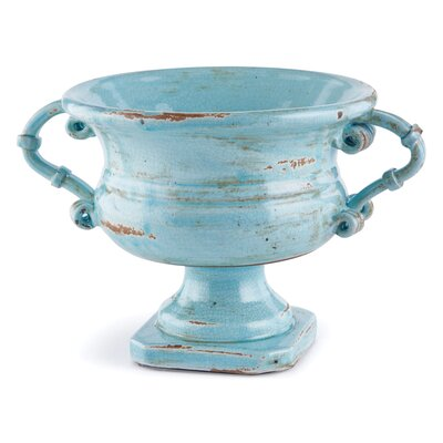 Aqua Ceramic Footed Compote Urn with Handle