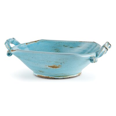 Aqua Ceramic Wide Bowl with Handle