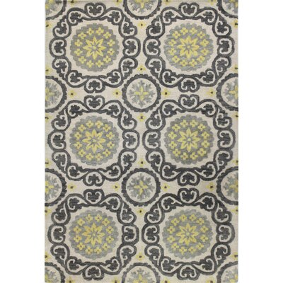 Amesville Ivory/Grey Area Rug Rug Size: 36 x 56