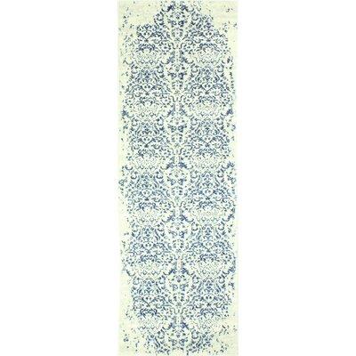 Arlingham Ivory/Blue Area Rug Rug Size: Runner 26 x 8