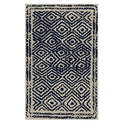 Sala Sapphire Blue/Ivory Area Rug Rug Size: 33 x 53