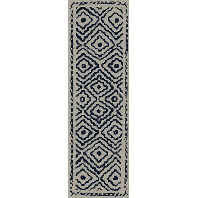 Sala Sapphire Blue/Ivory Area Rug Rug Size: Runner 26 x 8