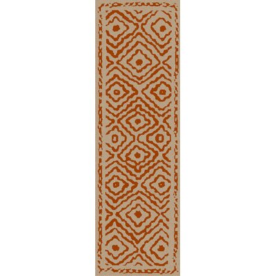 Sala Hand Woven Wool Burnt Orange/Beige Area Rug Rug Size: Runner 26 x 8