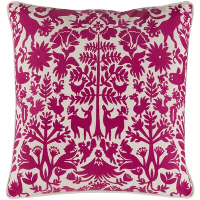 Taza Cotton Throw Pillow Size: 20 H x 20 W x 4 D, Color: Pink