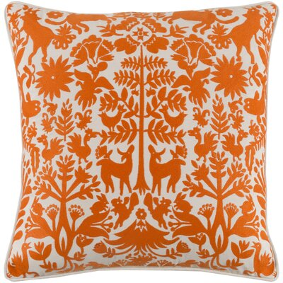 Taza Cotton Pillow Cover Size: 20 H x 20 W x 1 D, Color: Orange